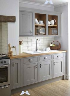 Six Colors To Paint Your Kitchen Cabinets (Other Than White)  Organized-ish by Lela Burris<br> Farmhouse Kitchen Cabinets, Kitchen Cabinet Doors, Kitchen Cabinet Design, Painting Kitchen Cabinets, Kitchen Paint, Kitchen Shelves, Kitchen Tiles, Rustic Kitchen, New Kitchen