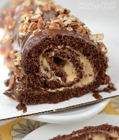 Chocolate Caramel Turtle Cake Roll by www.crazyforcrust.com | Chocolate Cake filled with whipped caramel - this is love!