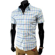 Mens Casual Slim Fit Short Sleeve Stretchy Checker Shirts