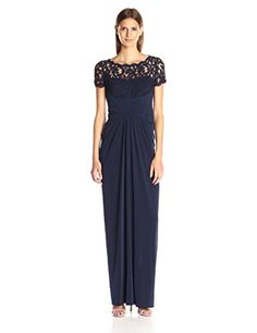 Adrianna Papell Womens 34 Sleeve Gown with Lace Bodice and Jersey Draped Skirt Ink 16 *** Check out this great product.