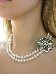 Adrienne.Vintage style flower and Swarovski Pearls bridal necklace (Silver). $114.00, via Etsy.