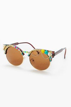 Really like these! Spangled Embellished Half Frame Round Sunglasses, Urban Outfitters 2014, £40.