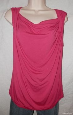 Womens CAbi Top L Large Hot Solid Pink Sleevless Drape Neck Knit Stretchy | eBay