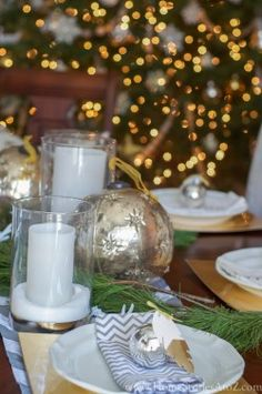 Gold and Silver Christmas Dining Room