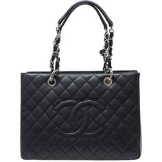 Pre-owned Chanel Grand Shopper Caviar Quilted Black Leather Tote ($4,025) ❤ liked on Polyvore