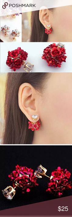 """Stunning Red Rose  Double Sided Australian Crystal Red Rosebud Brand New Boutique Quality Measurements are approximately 1"""" Colors are Red & Gold Plated for wear and shine longevity  Jewelry Earrings"""