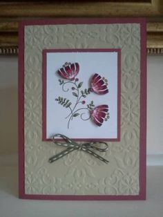 SU Sweet Summer(R) in Bravo Burgundy and Sahara Sand Birthday Cards For Women, Happy Birthday Cards, Scrapbook Cards, Scrapbooking, Embossed Cards, Fall Cards, Pretty Cards, Copics, Flower Cards
