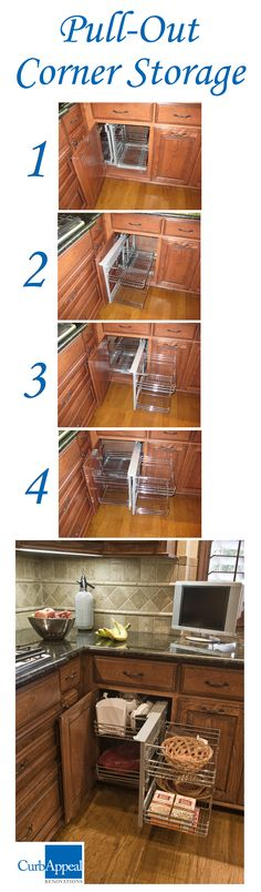 "This corner storage shelving unit helps you maximize storage space in your kitchen! It holds a lot more than a circular ""lazy susan"", and is very easy to glide in and out of the kitchen cabinet. Kitchen Cabinet Storage, Kitchen Shelves, Kitchen Redo, Storage Cabinets, Kitchen Organization, New Kitchen, Storage Shelving, Organization Ideas, Storage Ideas"