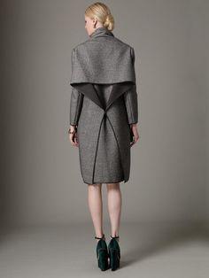 Textured Wool Drape Back Coat