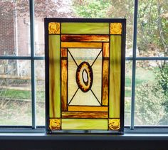 Agate Geode Stained Glass Window Panel - Earth Tones - Brown and Green - Geometric Art - Rustic Decor - Housewarming Gift - Nature Decor by StainedGlassYourWay on Etsy