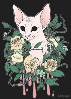 Light Floral Feline by GoldMouse on Redbubble. These hairless kitties are so soft grunge + kawaii + perfectly pastel we could cry.