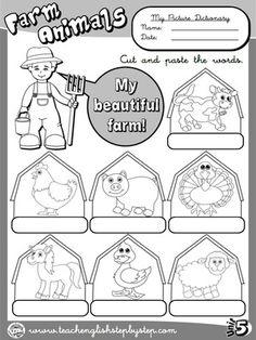 Farm  Animals - Picture Dictionary (B&W version)