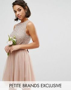 Maya Petite Sleeveless Sequin Top Mini Dress With Tulle Skirt And Bow Back Detail