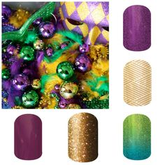 Laissez les bons temps rouler! Are your nails ready for Mardi Gras? If not, I can help! www.birdnerd.jamberrynails.net   #jamberrynails