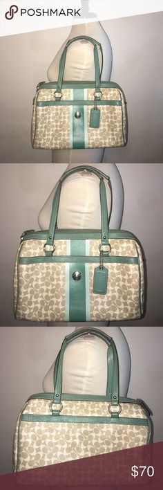 """Gorgeous and Real Coach Signature bag. Coach Signature bag, serial number inside, beige and green Signature vinyl, green leather straps, light blue inside, silver hardware. 9.5"""" X 12"""" X 6"""" Acceptable Condition, few ink stains inside, Discoloration on the straps, Some peeling outside, Nothing terrible. Please read the description well, So I do not have to get any returns. -No trades. -No holds. -Firm Price, No more discounts for this bag, It is not easy to find good prices for reselling…"""