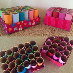 DIY pencil & pen holder. Made out of toilet paper rolls and an old shoe box.