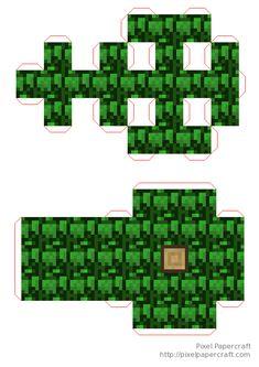 Papercraft Mini Oak Tree Minecraft Tree, Minecraft Blocks, Minecraft Crafts, Minecraft Templates, Origami Templates, Box Templates, Foam Crafts, Paper Crafts, Papercraft Minecraft Skin