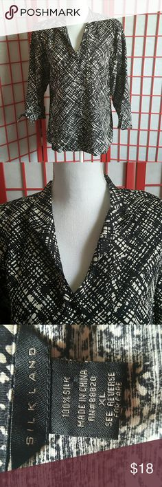 """SilkLand Pure-Silk Black & White Blazer Blouse blouse/jacket from Silkland in Size XL   It has 3/4 sleeves with fold back cuffs, an open neckline, 6 buttons .  It is in excellent used condition with no tears or stains. Bust:21"""" Length: 26"""" SilkLand Jackets & Coats Blazers"""