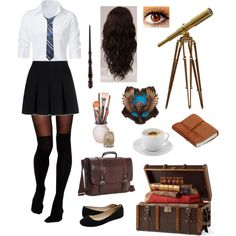 A fashion look from August 2016 featuring button-down shirts, over the knee stockings and short skirts. Browse and shop related looks. Ravenclaw, Harry Potter Uniform, Harry Potter Outfits, Harry Potter Accesorios, Slytherin Clothes, Harry Potter Severus, Character Inspired Outfits, Fandom Fashion, Fandom Outfits