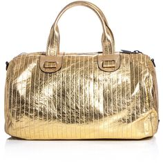 Meredith Wendell Metallic leather duffle bag ($765) ❤ liked on Polyvore