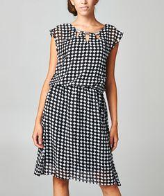 Love this Black & White Checkerboard Blouson Dress by Urban Love on #zulily! #zulilyfinds