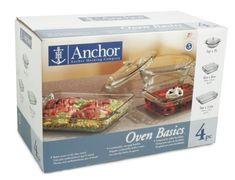Anchor Hocking Oven Basics 4-Piece Oven Set, Crystal Clear Anchor Hocking http://www.amazon.com/gp/product/B000K2H0HY/ref=as_li_tl?ie=UTF8&camp=1789&creative=390957&creativeASIN=B000K2H0HY&linkCode=as2&tag=wonderfulrota-20&linkId=OBJQEO2SYQSTEKAS