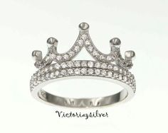 Sterling Silver Crown Ring CZ RingTiara by Victoriazsilver on Etsy