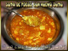 La cocina de Maetiare: Sopa de fideos con huevo duro