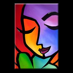 Color Blind - Original Abstract painting Modern pop Art Contemporary Portrait color FACE by Fidostudio