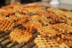 Great, crispy home-made waffle fries. They're good enough to warrant the purchase of a mandoline if you don't already have one!