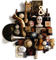 Leo Kaplan's assemblages are little worlds, little vintage environments with a n. - Leo Kaplan's assemblages are little worlds, little vintage environments with a nostalgic feel. Shadow Box Kunst, Shadow Box Art, Collages, Found Object Art, Found Art, Arte Assemblage, Collage Art Mixed Media, Deco Design, Recycled Art