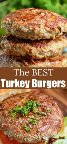 The BEST Turkey Burgers. Juicy, tender turkey burgers are the perfect lean alternatives to cook for dinner or on the grill. So flavorful and juicy, it will be your favorite recipe. Oven Turkey Burgers, Easy Turkey Burger Recipe, Ground Turkey Burgers, Grilled Turkey Burgers, Hamburger Meat Recipes, Crockpot Meat, Grilled Meat, Turkey Recipes, Grilling Recipes