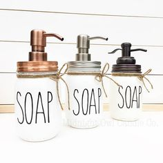 New kitchen decor ideas mason jars soap dispenser 60 ideas Mason Jar Soap Dispenser, Soap Dispensers, Bathroom Soap Dispenser, Ray Dunn, Decoration Inspiration, Decor Ideas, Decorating Ideas, Ball Mason Jars, Mason Jar Crafts