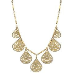 1928 Openwork Teardrop Charm Necklace ($18) ❤ liked on Polyvore featuring jewelry, necklaces, gold tone, lobster clasp charms, teardrop jewelry, charm jewelry, tear drop necklace and tear drop jewelry