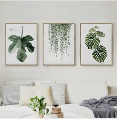 Scandinavian Hanging Leaf Wall Art This Scandinavian style leaf art print will bring some green to your living space. It is made out of canvas and does not come with a frame. Material: Canvas Medium: Waterproof Ink Frame: No Stretched…More Decor, Minimalist Living Room, Room Wall Art, Living Room Decor, Decor Interior Design, Leaf Wall Art, Cheap Home Decor, Living Room Wall, Living Decor