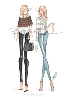 live illustration | pop up shop | jewelry | custom handbags | fur stole | fur wrap | understated jewelry | distressed jeans | fashion illustration | Brittany Fuson | Nashville