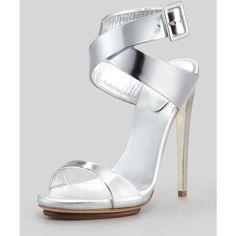 Women's Big-Buckle Ankle-Wrap High-Heel Sandal