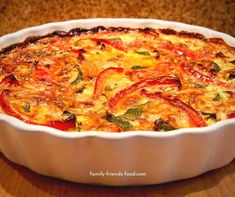 Loaded with veggies, and free from grains & dairy, this delicious crustless quiche is perfect for the diet. Try it for breakfast, lunch or dinner! Plant Based Recipes, Vegetable Recipes, Vegetarian Recipes, Cooking Recipes, Dairy Free Quiche Recipes, Quiche Dish, Quiche Crustless, Slimming World Recipes Syn Free, Zucchini Frittata