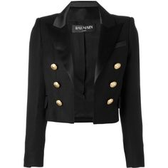Balmain open front cropped blazer (35.525 ARS) ❤ liked on Polyvore featuring outerwear, jackets, blazers, blazer, coats, black, open front jacket, peaked lapel blazer, blazer jacket and cropped jacket