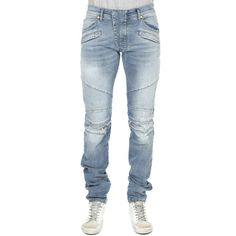 Pierre Balmain Stretch Moto Jean ($725) ❤ liked on Polyvore featuring men's fashion, men's clothing, men's jeans, designers, home, men's, pierre balmain, mens blue jeans, mens ripped jeans and mens light wash jeans