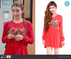 Riley's red rose print dress on Girl Meets World.  Outfit Details: http://wornontv.net/50537/ #GirlMeetsWorld