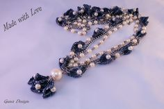 Necklace from recycled denim with beads in hippie por gunadesign