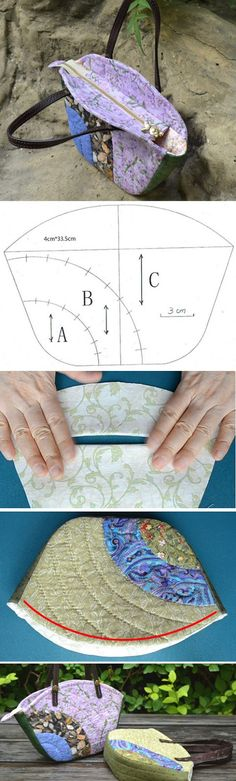 How To Sew a Patchwork Quilted Tote Bag. Sewing Process http://www.handmadiya.com/2016/05/patchwork-quilted-tote-bag.html