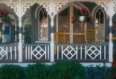 Another purty porch by Don Hammontree Front Porch Railings, Wood Railing, Decks And Porches, Front Porches, Outdoor Rooms, Outdoor Furniture, Aged Care, Queen Anne, Porch Decorating