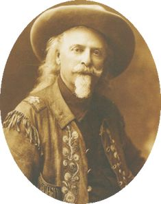"""""""Buffalo Bill Cody"""" led the very first Cheyenne Frontier Days parade with his Wild West Show and its band of Sioux Indians. In 1903 he rode along-side Teddy Roosevelt in the parade."""