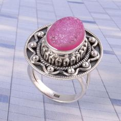 925 Solid STERLING SILVER Pink Druzy RING Exclusive JEWELLERY 8.58g DJR3512 #Handmade #Ring