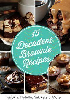 15 Decadent Brownie Recipes on mybakingaddiction.com