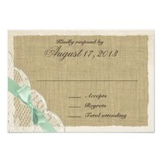 Outdoor Wedding RSVP Lace and Mint Green Bow Country Response Card
