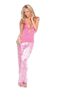 Sexy Candy Pink Lingerie Sleep Set. Cami Top w/Lace Accents & Pants. #sexy #ValentinesLingerie