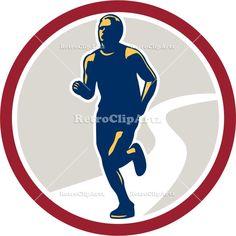 artwork, athlete, circle, exercise, front, graphics, illustration, jogger, jogging, male, man, marathon, physical fitness, race, retro, run,...